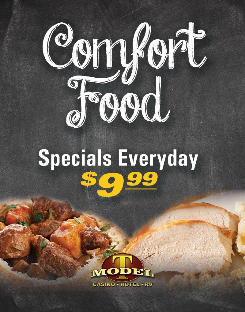 Comfort Food Specials Everyday $9.99